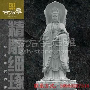 惠安古石厚石雕 三面观音站立如来观音弥勒佛像雕刻 寺庙古建