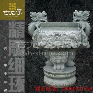 惠安石雕香炉 双龙耳寺庙陵园祠堂使用三脚香炉 厂家热销