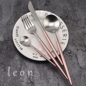 小资情怀银色款西餐牛排刀叉勺四件套304不锈钢餐具咖啡甜点勺