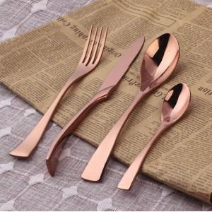 304不锈钢牛排刀叉勺三件套 西餐刀叉套装餐具礼盒